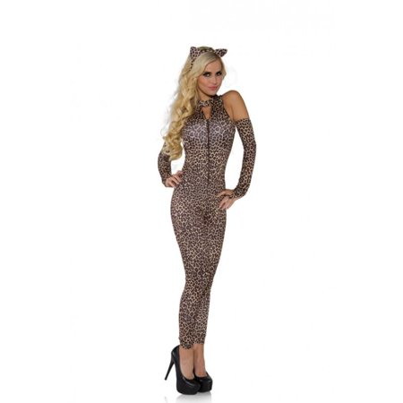 Brown Coat Costume (Jungle Cat Leopard Jumpsuit Adult Costume)