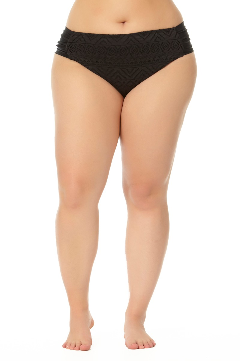 Allure Juniors Plus Size Shirred Side Hipster Swim Bottom