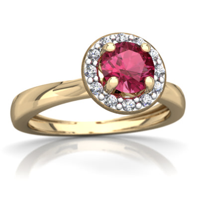Pink Tourmaline Ring in 14K Yellow Gold by
