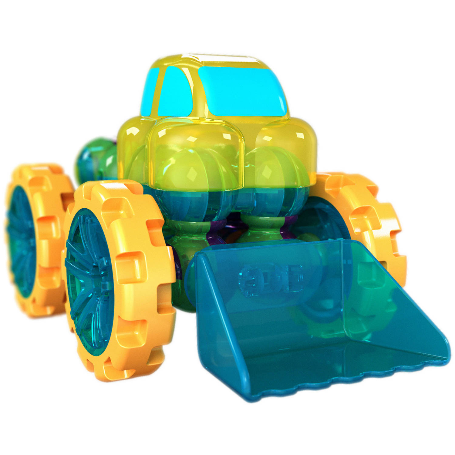 Lite Poppers STEM Learning Build a Loader Kit- LED Light, Build and Play Model Car Construction Toy with USB Powered LED Base
