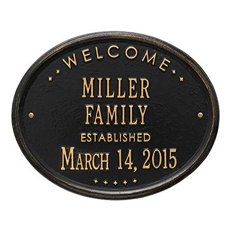 "Welcome Oval ""Family"" Established - Standard Wall - Two Line - Black/Gold-Black/Gold - image 1 de 1"