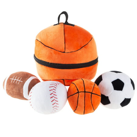 My First Sports Bag Playset- Plush Soccer, Baseball, Basketball & Football for Babies, Infants & Toddlers by Hey!
