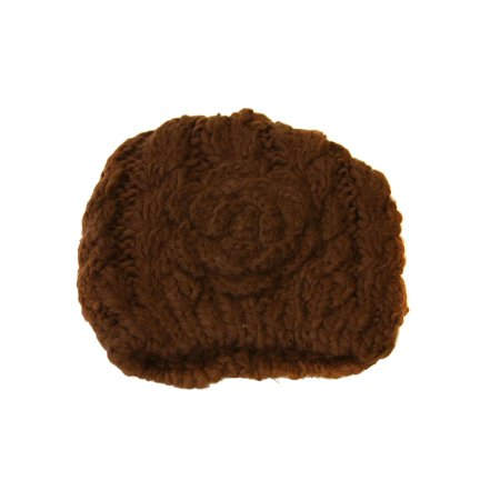 Women's Winter Short Knitted Beanie with Knitted Rose Bud Flower - Brown - image 1 de 1