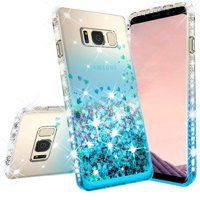 Samsung Galaxy S8 Case w/[Temper Glass Screen Protector] Liquid Glitter Phone Case Waterfall Floating Quicksand Bling Sparkle Cute Protective Girls Women Cover for Galaxy S8 - Teal/Clear