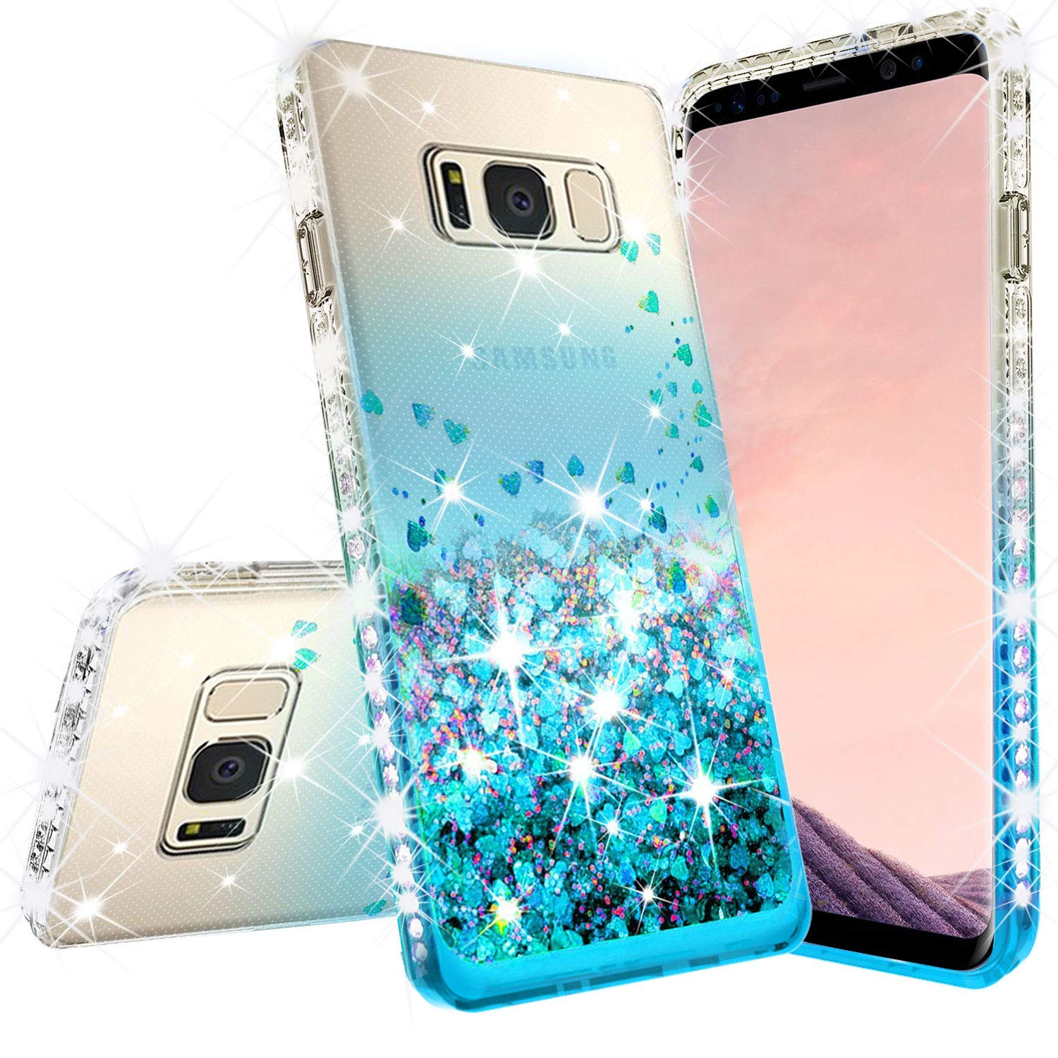 Samsung Galaxy S9 Casew/[Temper Glass Screen Protector] Liquid Glitter Phone Case Waterfall Floating Quicksand Bling Sparkle Cute Protective Girls Women Cover for Galaxy S9 - Teal/Clear