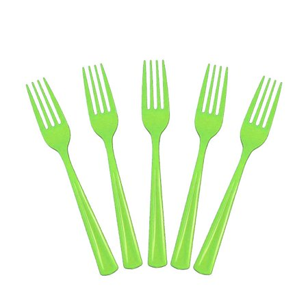 Exquisite Disposable Plastic Forks - 100 Count - Party Deluxe, Heavyweight Plastic Cutlery - Lime Green
