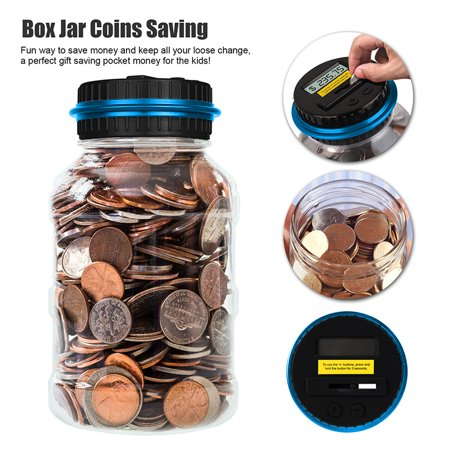 Creative 2 5L Digital Coin Counting Bank Money Saving Box Jar Lcd Display Battery Powered Dollar Coins Saving Gift For Kids Children