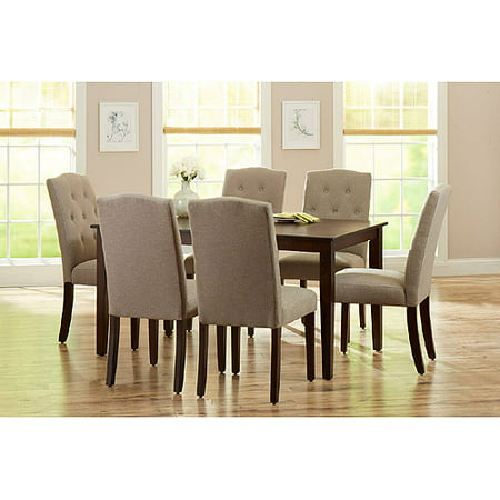 Better Homes and Gardens 7-Piece Dining Set with Upholstered Chairs, Mocha/Beige