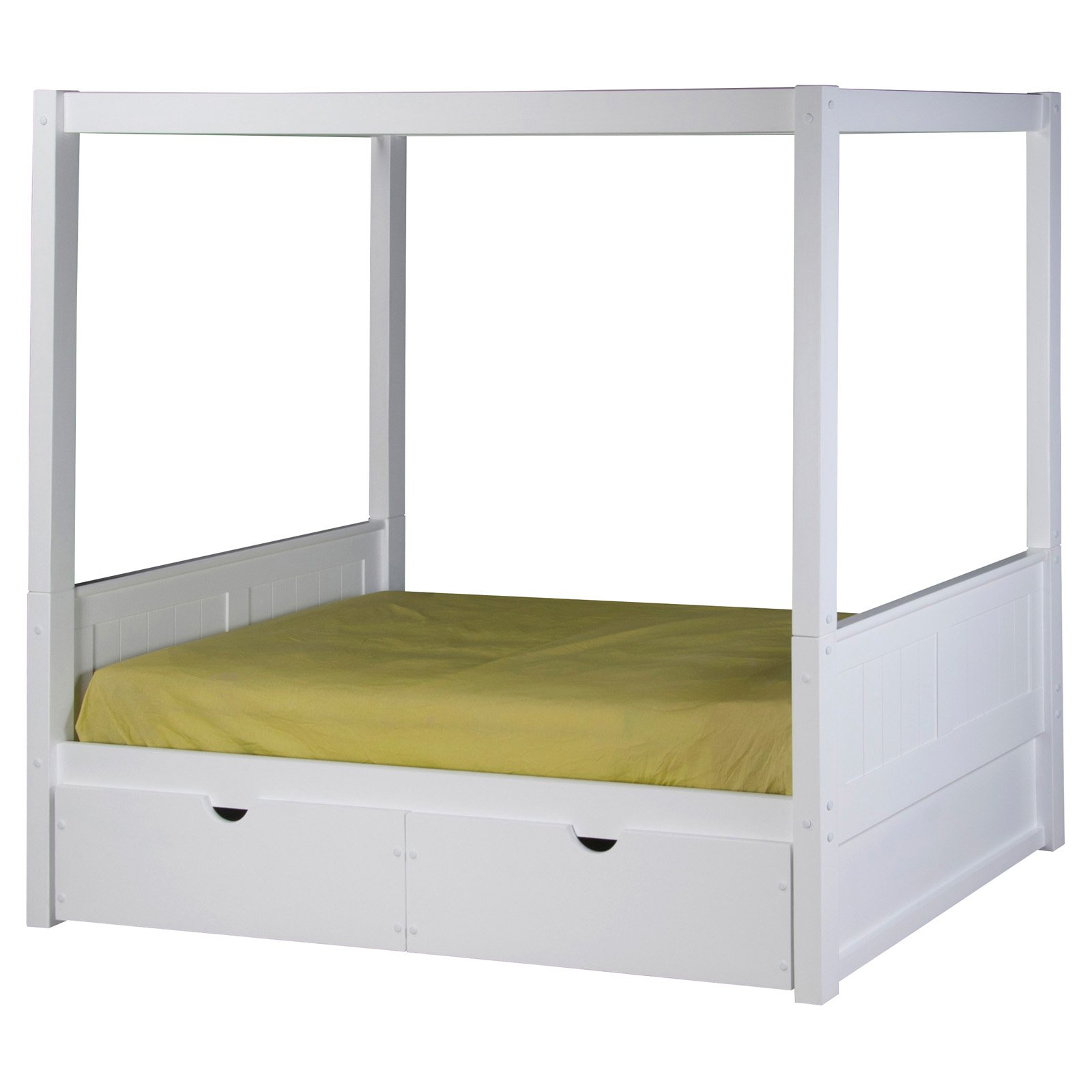 Camaflexi Twin Size Canopy Bed with Drawers Panel Headboard White Finish by EcoFlex Furniture