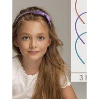 Lux Accessories Multi Colored Metallic Ribbon Bow Girls Fashion Headband Set of 3