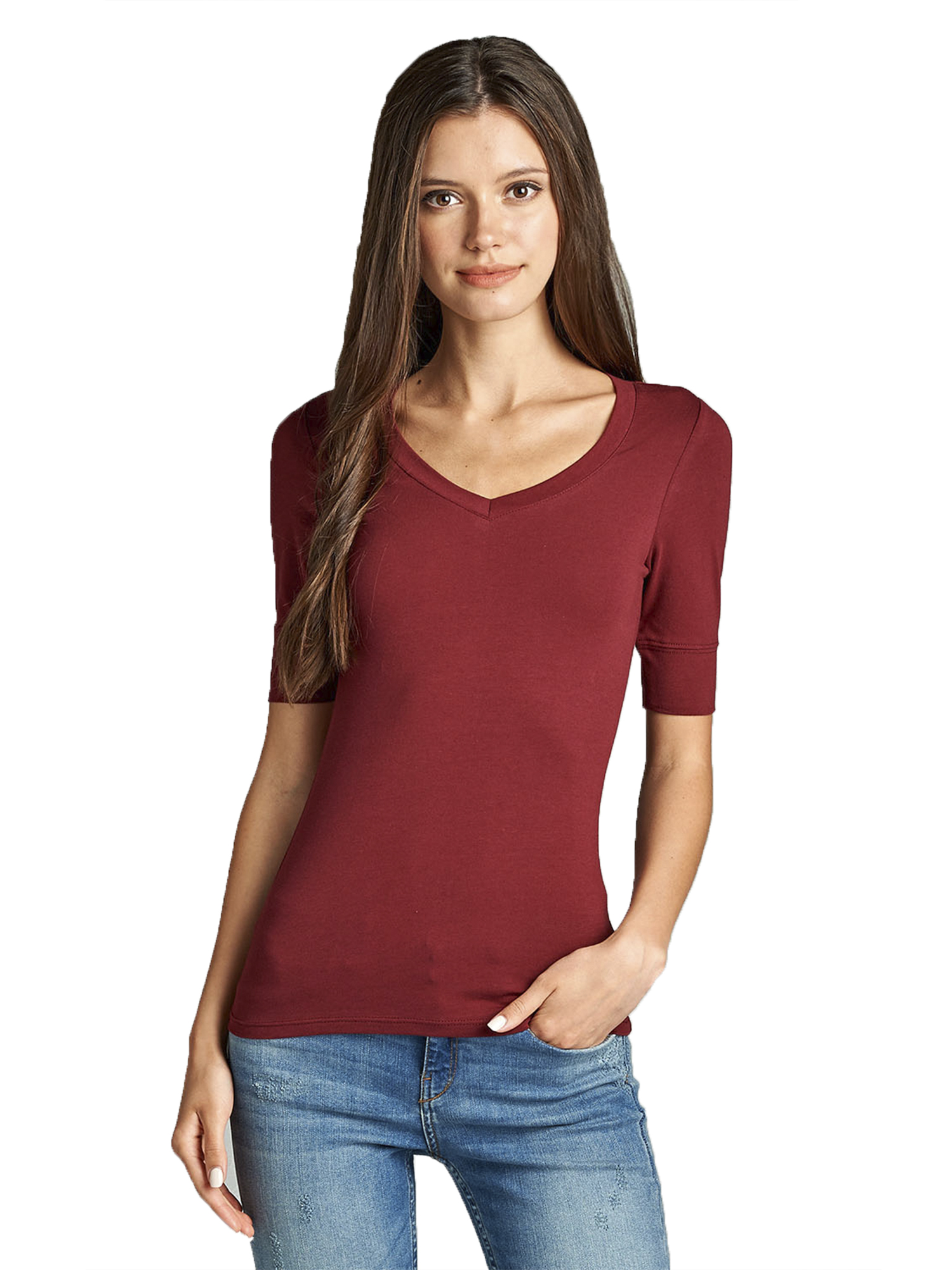 emmalise women's cotton blend v neck tee shirt half sleeves - junior and plus sizes