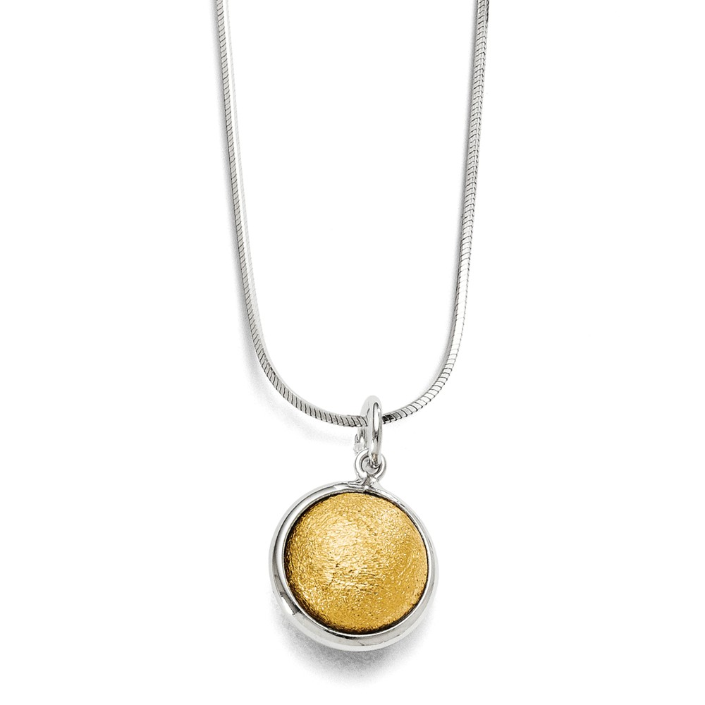 Sterling Silver Gold-Plated Polished & Laser Textured Pendant