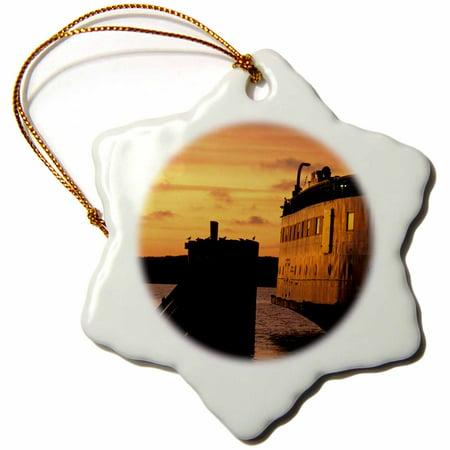 3dRose Massachusetts, Marthas Vineyard Ferry at dusk - US22 WBI0097 - Walter Bibikow - Snowflake Ornament, (Halloween Parties Martha's Vineyard)