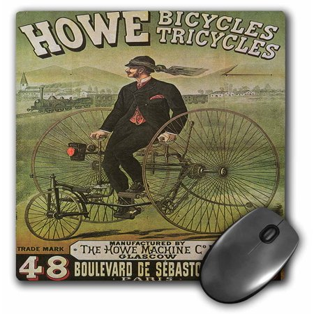 3dRose Howe Bicycles Tricycles Glascow Vintage Advertising Poster, Mouse Pad, 8 by 8 inches