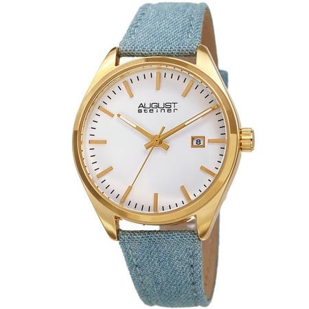 August Steiner Womens Matte Dial Light Blue Leather Watch [AS8266YG]