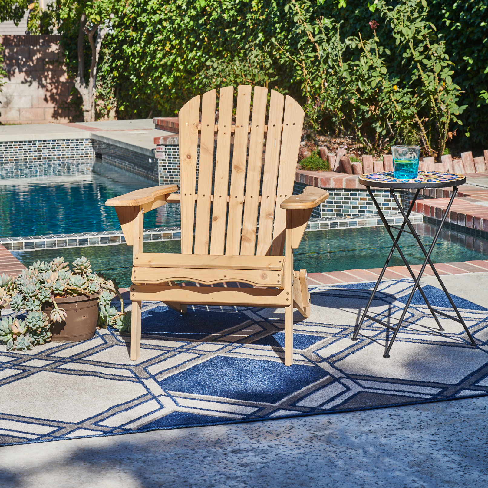 Incadozo Adirondack Chair, Natural Wood Color