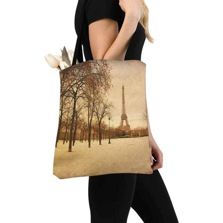 HATIART the Eiffel Tower Reusable Grocery Bags Shopping Bag Canvas Tote Bag Shoulder Bag - image 1 of 3
