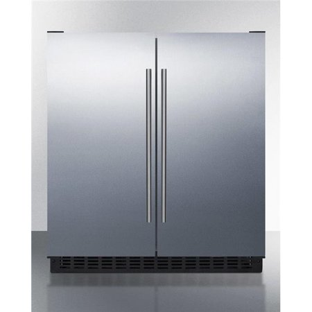 30 in. Wide Built-in Undercounter Side-by-Side French Door Refrigerator-Freezer, Stainless Steel - White