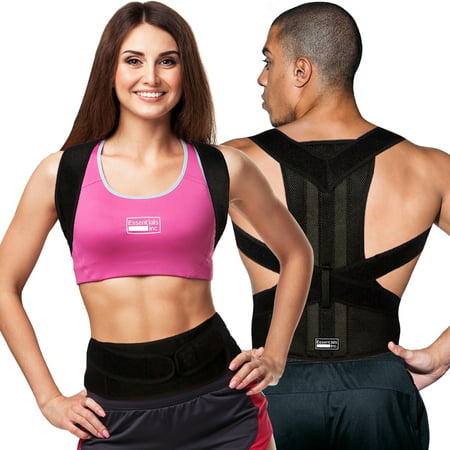 Posture Corrector for Women & Men - Back & Shoulder Support for Pain Relief - Fully Adjustable Clavicle Medical Back Brace - L