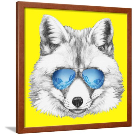 - Portrait of Fox with Mirror Sunglasses. Hand Drawn Illustration. Framed Print Wall Art By victoria_novak