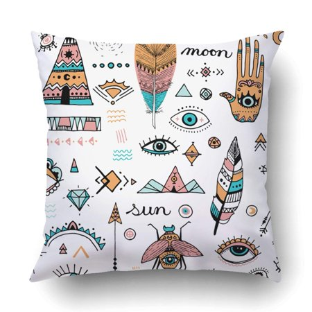 BPBOP Boho Doodle Clip Art Evil Eye Hamsa Hand of Fatima Bohemian Design  Icons Pillowcase Throw Pillow Cover Case 20x20 inches