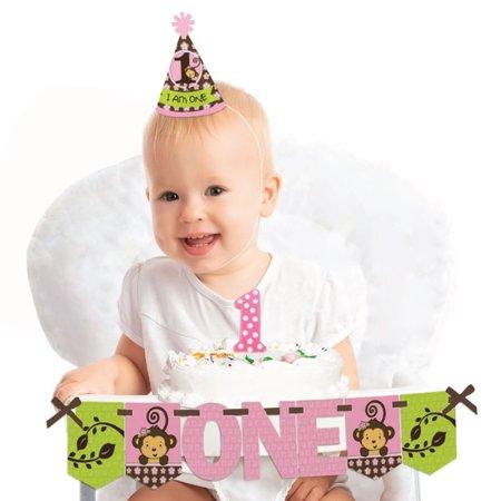Pink Monkey Girl - 1st Birthday Girl Smash Cake Decorating Kit - High Chair - Cake Smash Girl
