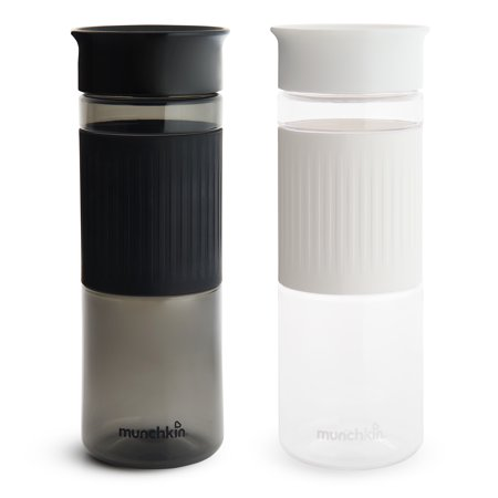 Munchkin Miracle 360 Cup Parent Pack, 24 Ounce Tritan Water Bottles, Black and White, 2 Pack ()