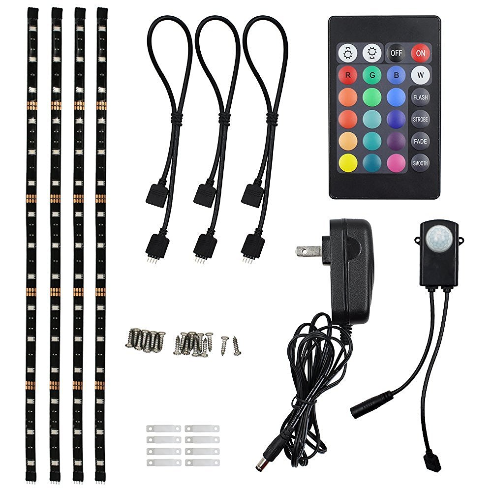 TORCHSTAR LED Multi-color RGB Home Theater TV Backlight Kit, 4pcs ETL listed LED Waterproof Strip Lights for Monitor, Screen, Background Accent lighting with UL adapter, 24-key Remote and Connectors