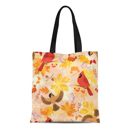 ASHLEIGH Canvas Tote Bag Colorful Cardinal Pattern Autumn Leaves Berries and Birds Orange Acorns Reusable Shoulder Grocery Shopping Bags Handbag