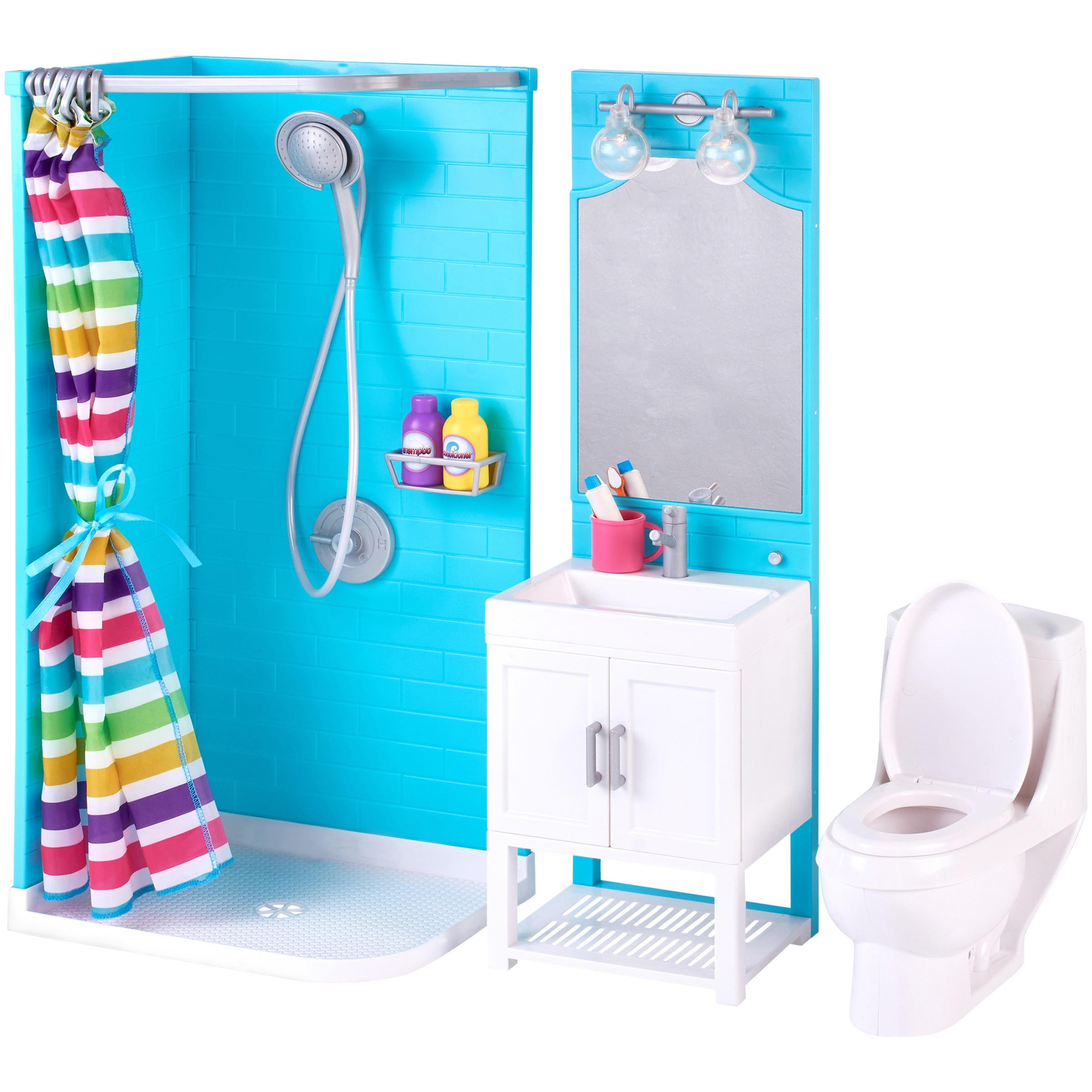 My Life As 17 Piece Bathroom Play Set With Shower And Light Up Vanity