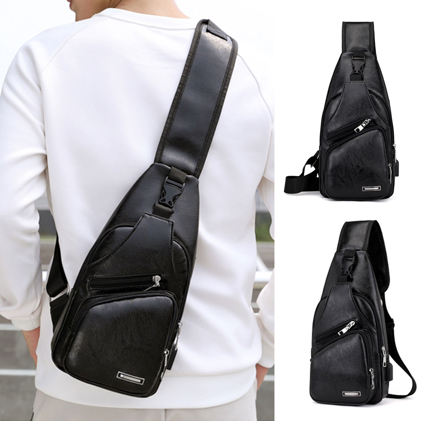 Cute Shark Listening To Music Messenger Bag Crossbody Bag Large Durable Shoulder School Or Business Bag Oxford Fabric For Mens Womens