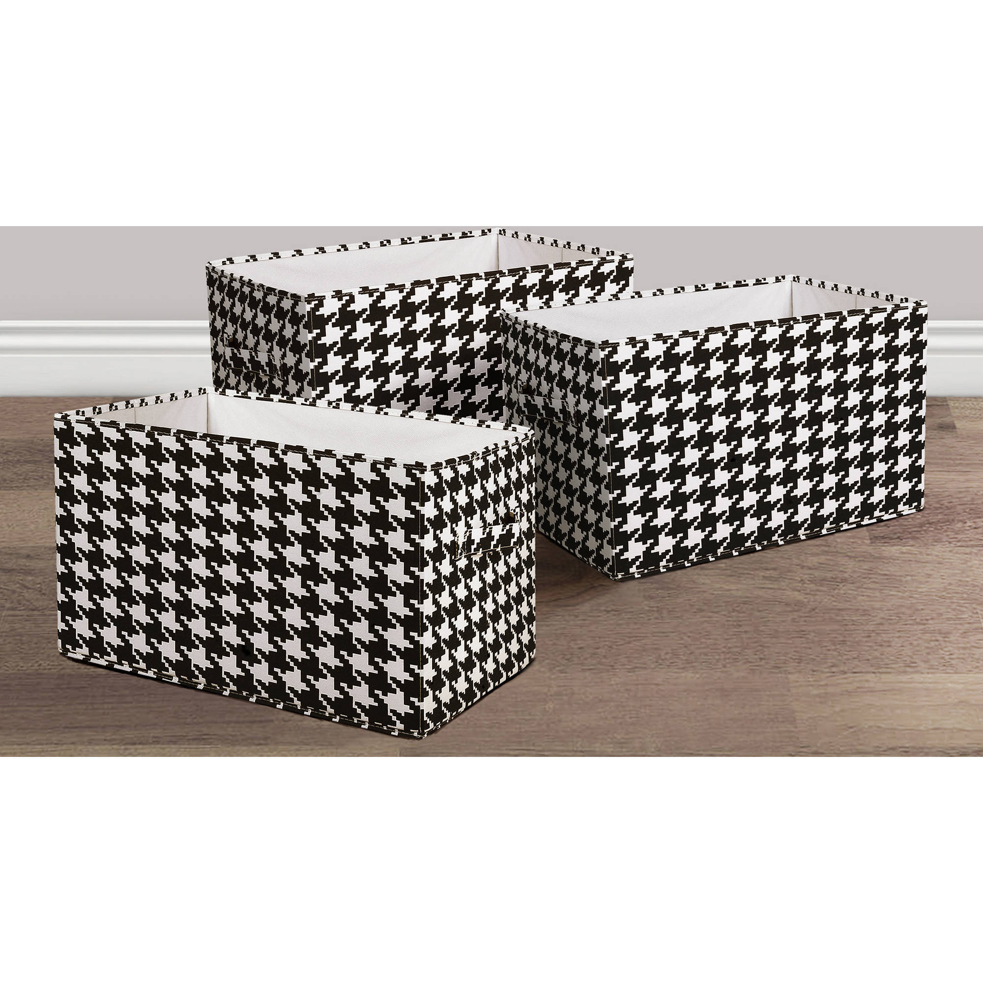 Houndstooth Fabric Covered Collapsible Box Black/White 3-Piece Set
