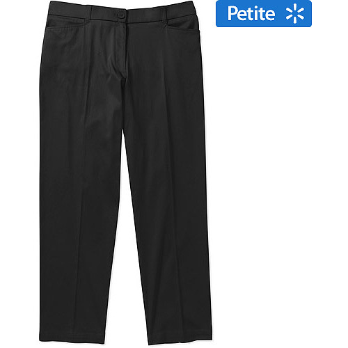 George Women's Plus-Size Petite Career Classic Sateen Pants with Comfort Waistband