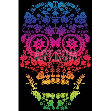 Day of the Dead Sugar Skull Design Print Wall Art By lineartestpilot