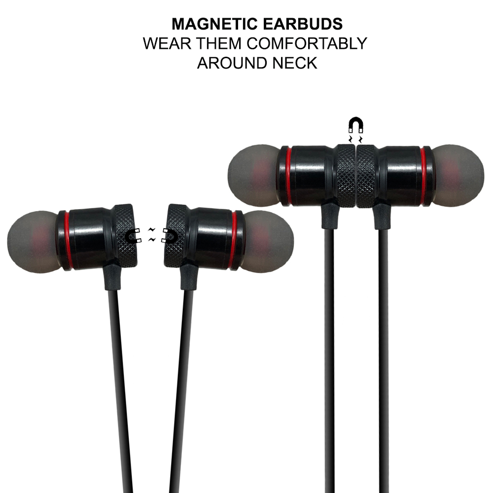 Acuvar Wireless Magnetic Rechargeable Earbuds with in line mic and volume controls (Black) - image 2 of 7