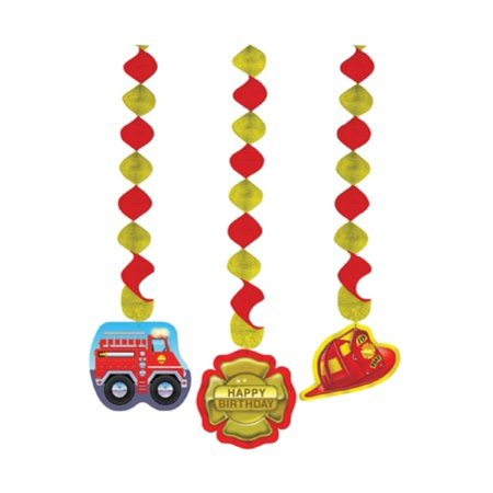 Club Pack of 18 Fire Engine Red and Yellow Firefighter Dangling Cutout Party Decorations 36