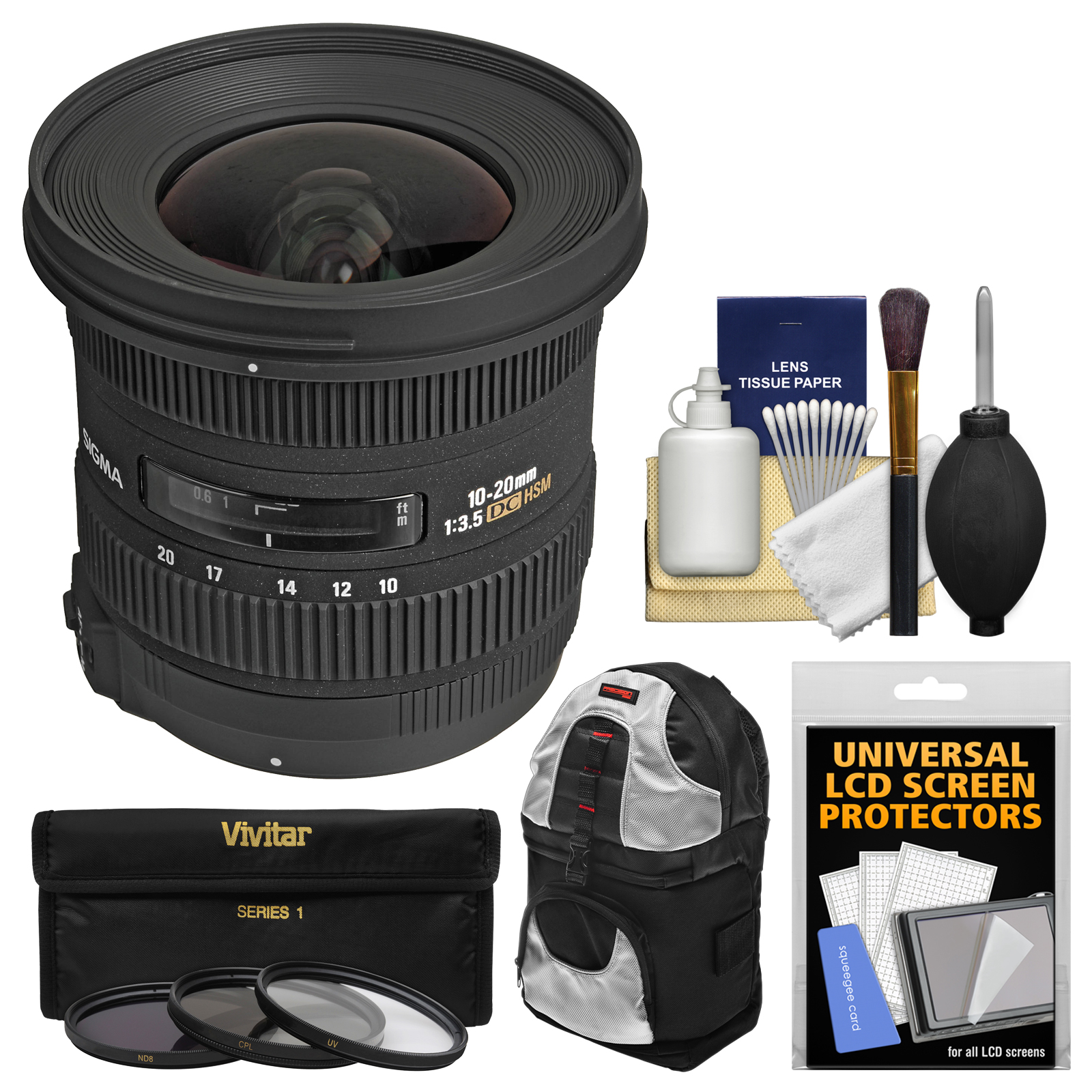 Sigma 10-20mm f/3.5 EX DC HSM Zoom Lens with Case   3 Kit for Nikon D3200, D3300, D5300, D5500, D7100, D7200, D610, D750, D810, D4s DSLR Cameras