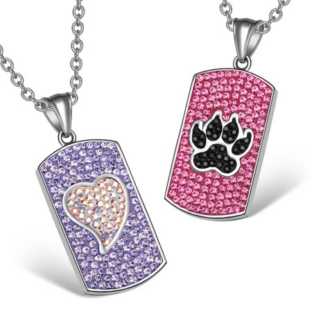 - Heart and Wolf Paw Austrian Crystal Love Couples Best Friends Dog Tag Purple Pink Black White Necklaces