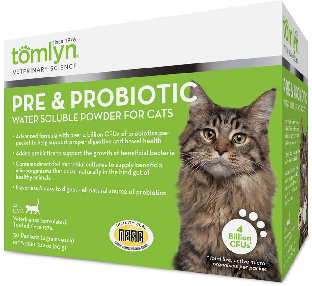 Tomlyn Pre & Probiotic Water Soluble Powder Supplement for Cats, 30 Packets