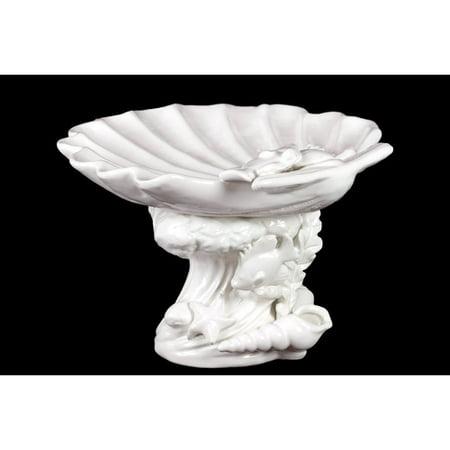 Urban Trends Ceramic Giant Clam Seashell Platter on Marine Life Pedestal Gloss White