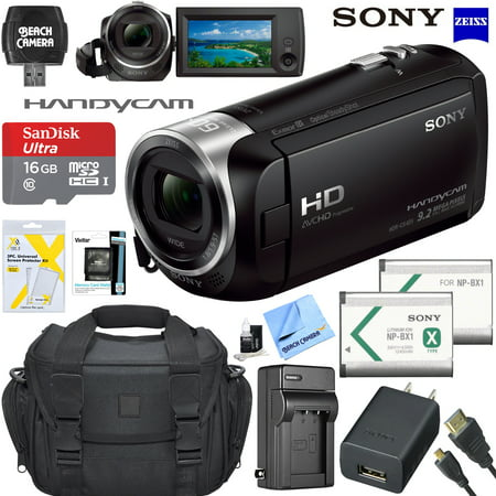 (Sony HDRCX405 HD Video Recording Handycam Camcorder Bundle with Micro SD Memory Card Spare Battery Charger High Speed HDMI Cable and More)