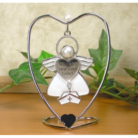 Nurses Heal Your Heart Hanging Ornament Angel with Hat Charm and Heart -
