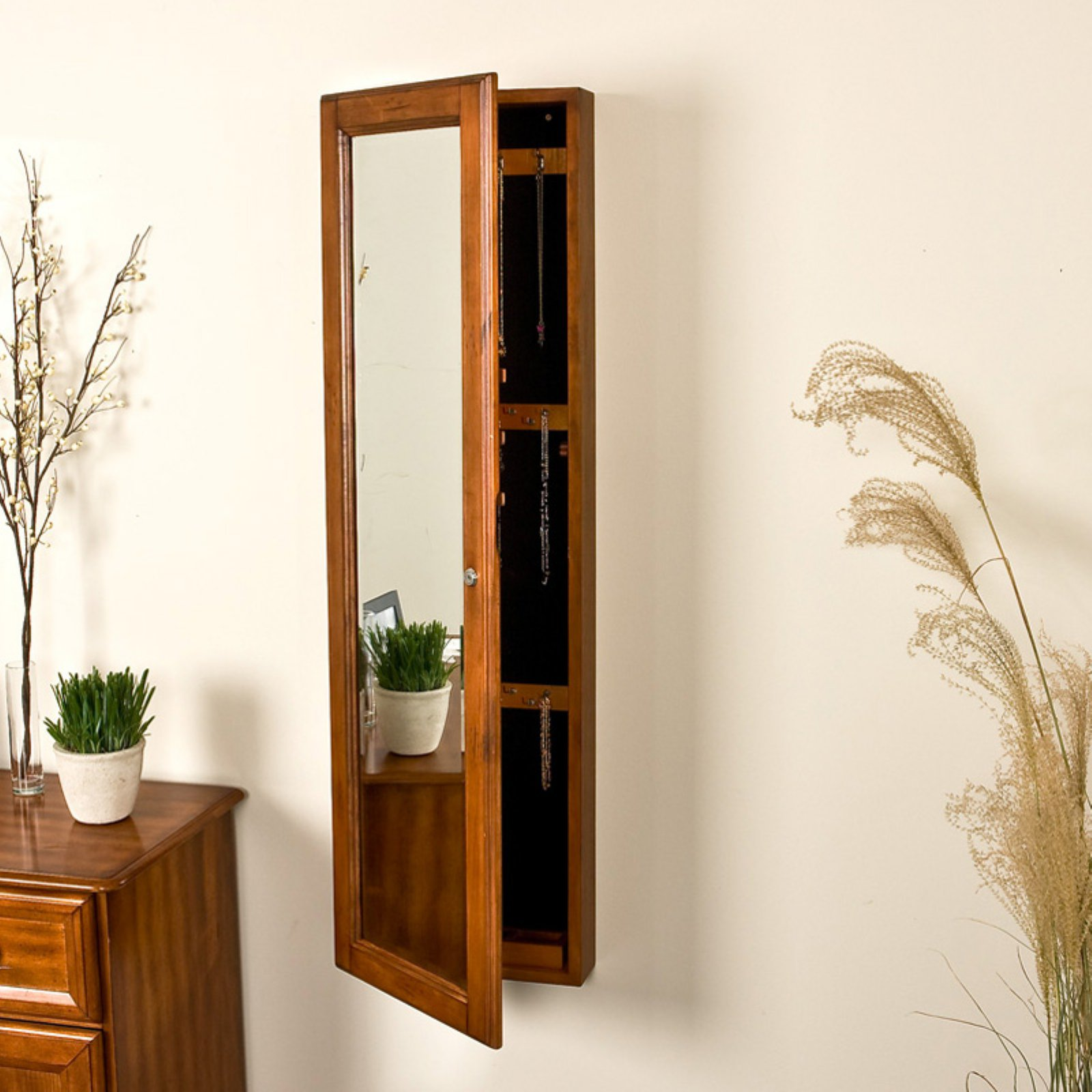 Southern Enterprises Wall Mounted Jewelry Cabinet U0026amp; Mirror   14.63W X  ...
