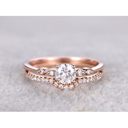 1.50 Carat Round cut Moissanite and Diamond infinity Wedding Ring Set in 18k Rose Gold Over Silver