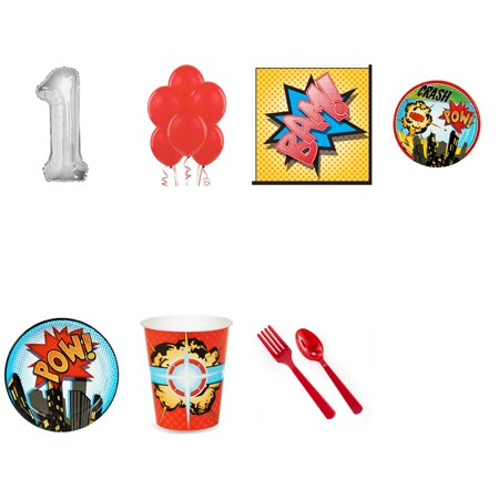 Superhero Comic Books 1st birthday supplies party pack for 24 (Super Hero Squad Party Supplies)