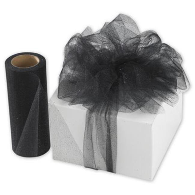 Deluxe Small Business Sales SPARKLE-12 6 inch x 25 yds.  Sheer Sparkle Tulle, Black