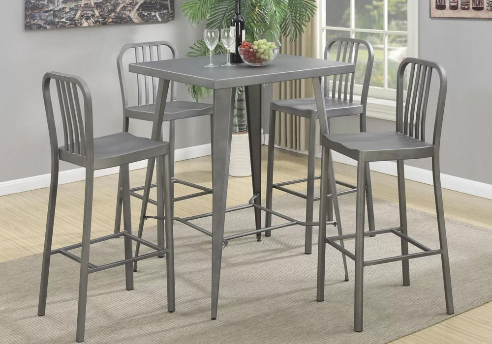 Simple Relax 1PerfectChoice Industrial 5 Pcs Square Pub Table With Bar Saddle Stools Chairs Light Gunmetal New by 1PerfectChoice