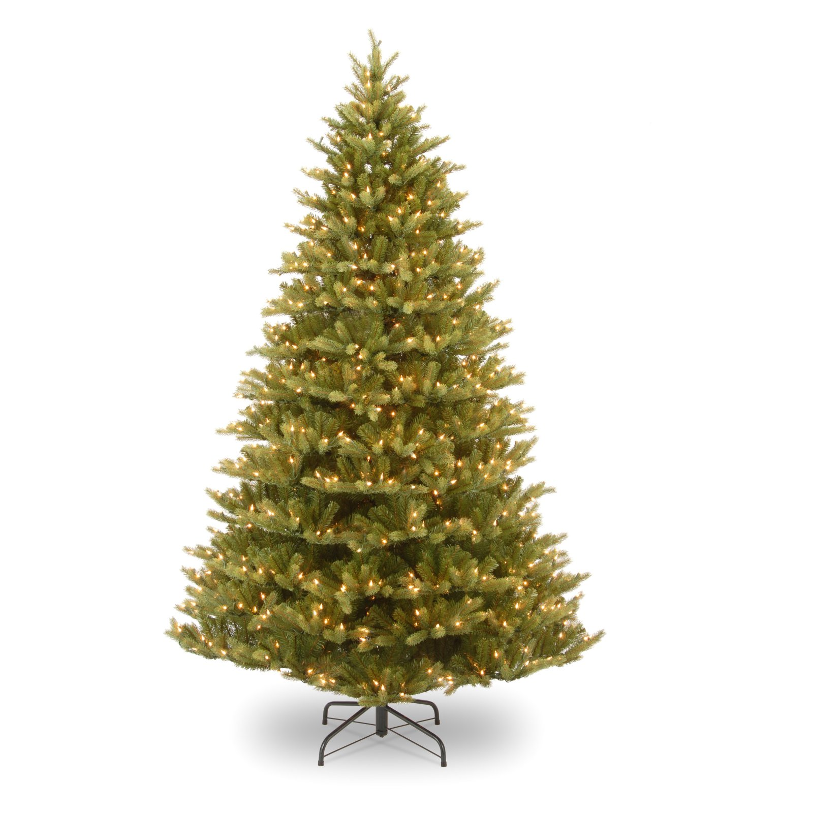 """National Tree Pre-Lit 7.5' """"Feel-Real"""" Normandy Fir Hinged Artificial Christmas Tree with 1000 Clear Lights"""