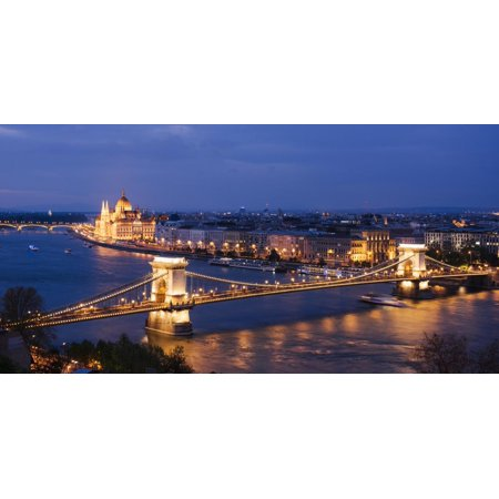 View over River Danube, Chain Bridge and Hungarian Parliament Building at Night Print Wall Art By Ben Pipe