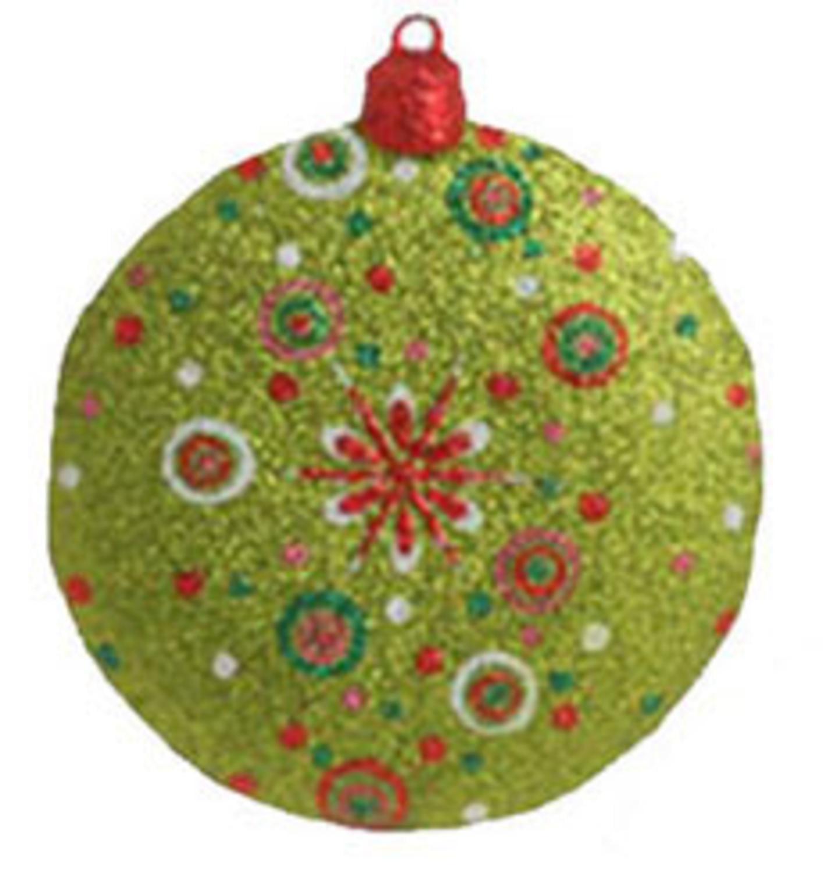 "4"" Christmas Brites Brilliant Snowflake Glittered Disk Ornament"